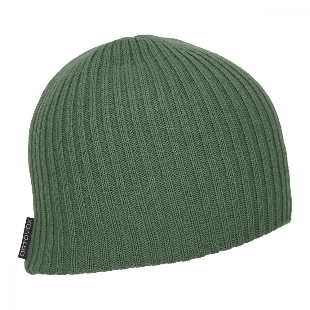 ORTOVOX DOUBLE RIB LOGO BEANIE GREEN FOREST